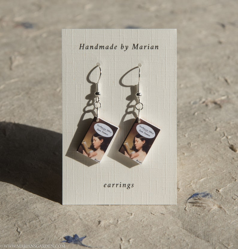 Northanger Abbey book earrings Jane Austen great gift for a image 0