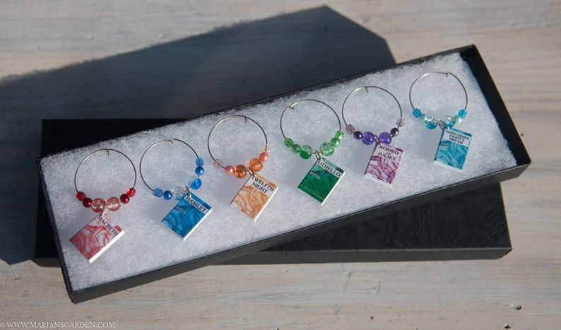 Book club wine charms six Shakespeare plays image 0