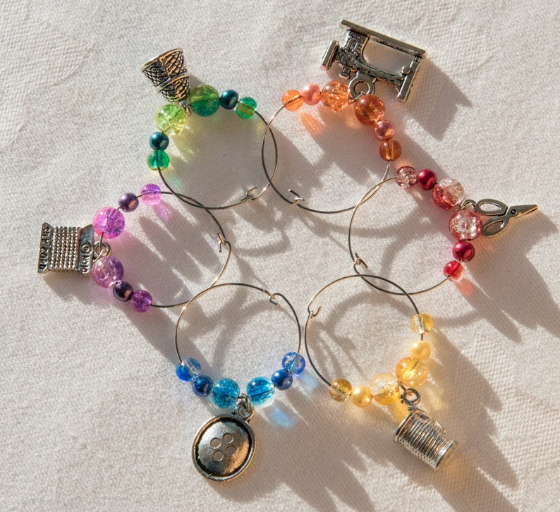 6 Sewing themed wine glass charms including a thimble button image 0