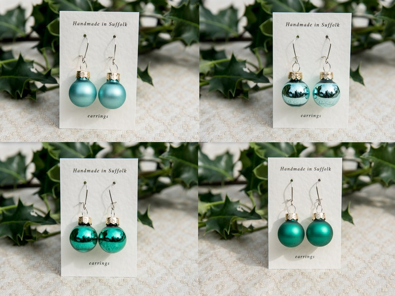 Christmas bauble earrings in four green shades image 0