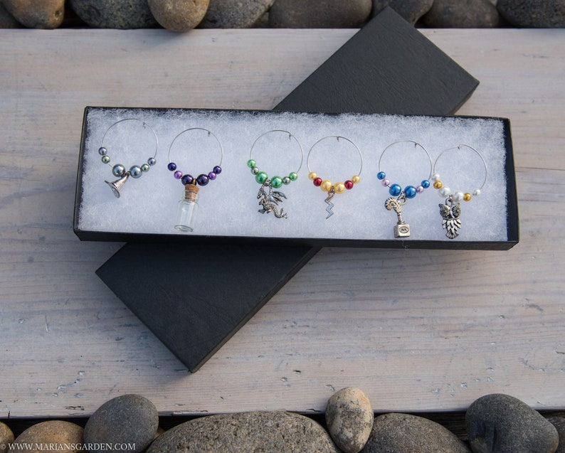 6 Wizard themed Wine Glass Charms  great gift for a Potter fan image 0