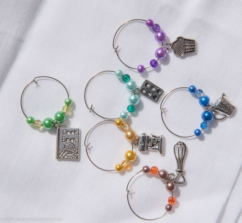 Baking wine glass charms GBBO inspired wine charms Baking image 0