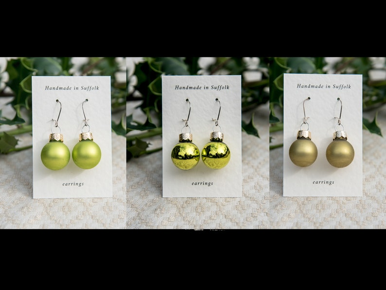 Christmas bauble earrings in gold and lime shades image 0