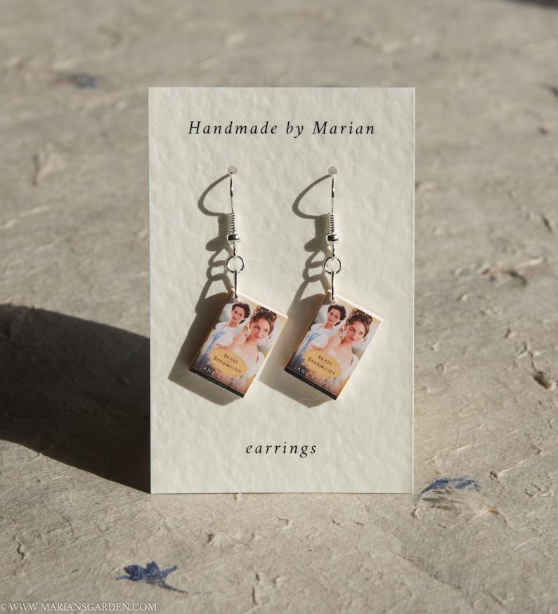 Sense and Sensibility book earrings Jane Austen great gift image 0