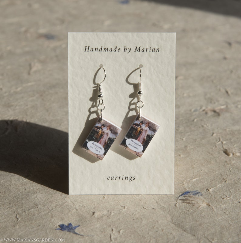 Persuasion book earrings Jane Austen great gift for a image 0