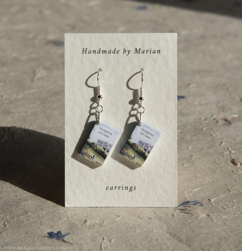 Mansfield Park book earrings Jane Austen great gift for a image 0