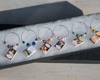 6 Jane Austen mini book themed wine charms, all 6 of her novels in miniature.