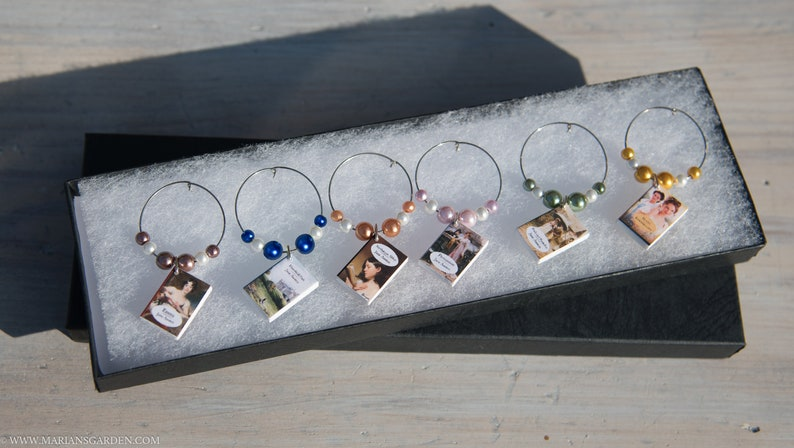 6 Jane Austen mini book themed wine charms all 6 of her image 0