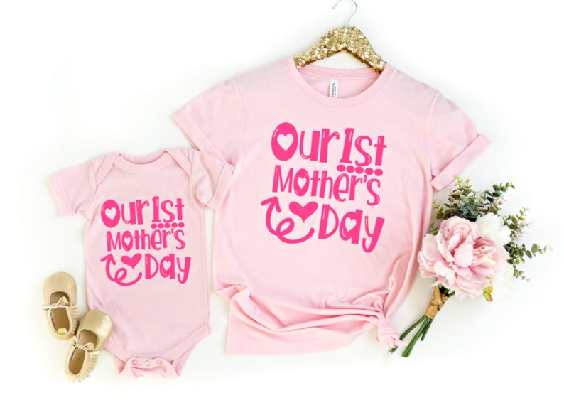 Mothers Day Mommy and Me Our First Mothers Day 1st Mothers Day Shirt Matching Mommy and Baby Outfits Mothers Day Gift from Baby