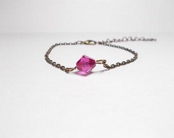 Bronze bracelet, fuchsia swarovski Pearl