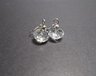 Synthetic clear crystal Pearl dangle earrings