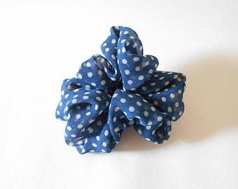 Large white polka dot polyester fabric flower