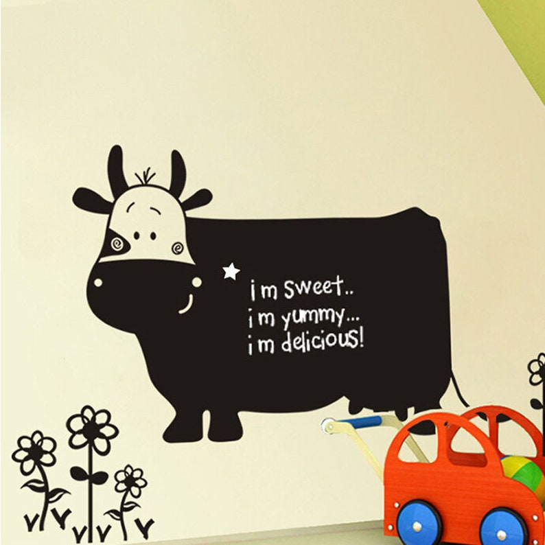 Blackboard Wall Sticker Decal in the shape of a Cow Unique Gift For Kids Room Nursery Daycare Home Decor DIY Removable