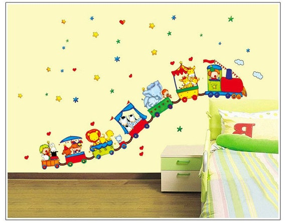 Animal Circus Train Wall Sticker Decal Kids Children Bedroom Daycare Home  Decor DIY Removable Vinyl