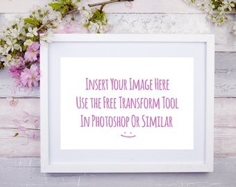 Frame Mockup Horizontal Floral Styled Stock Photography Wood Tabletop Flat Lay Overlay Your Design