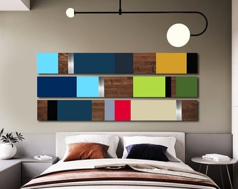 Minimalist Large Art Modern Home Decor Mid Century Metal Bedroom Paintings Sculpture Wall Wood