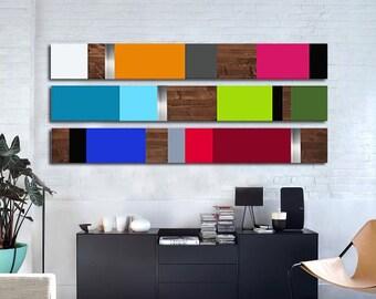 Modern Wood Art Metal Art Large Wall Art For Living Room Etsy