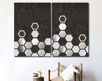 Wooden Geometric Wall Art, Large Wall Art, Wood Wall Art, Minimalist, Geometric Art, Metal Art, Large Art