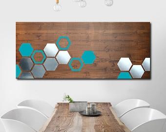 Metal Art, Metal Wood Wall Art, Geometric Art, Wood Wall Art, Modern Art, Wood Art