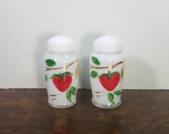 Vintage Bartlett Collins White and Gold Strawberry Range Shaker Salt and Pepper Set of (2) with Original Lids