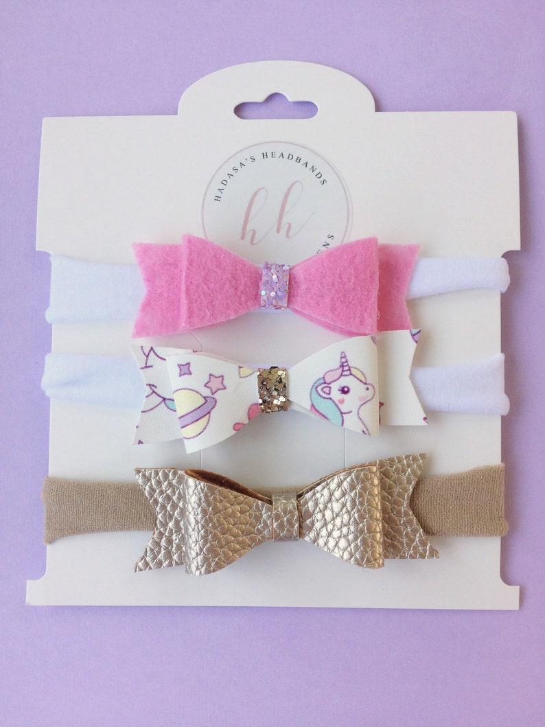 Unicorn bow gold pink headband  unicorn headbands  nylon headband  felt bows  newborn headband  baby girl headband  baby shower gift