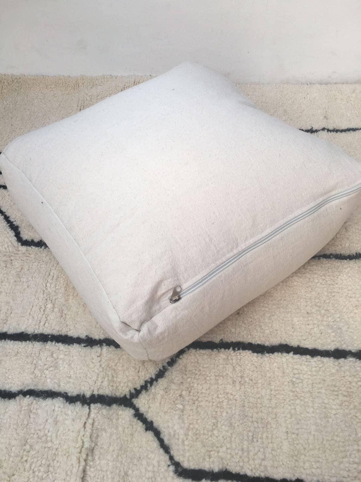 Coussin de plancher Pouffe marocaine vintage en Sabra Rug  | Oreiller coton, sabra, soie de cactus / Couverture et insertion SEULEMENT ( pas de remplissage )
