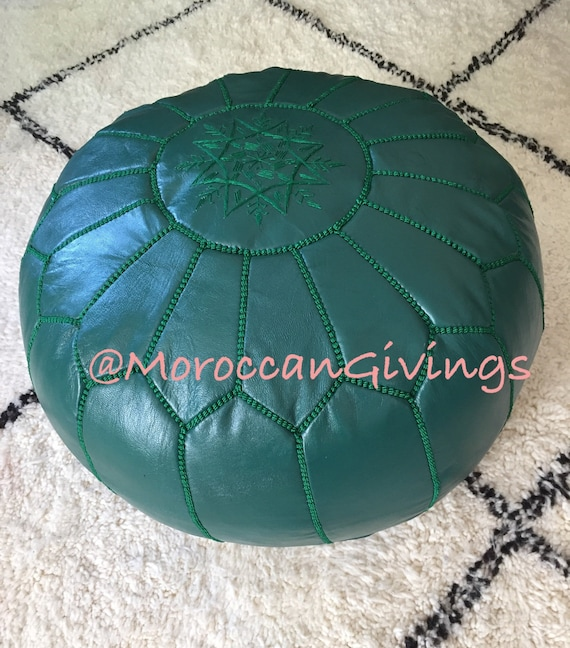 Moroccan Handcrafted Leather Pouffe Floor Cushions//Dark Turtle Green//Unstuffed