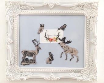 magnets animals forest wood deer Moose rabbit OWL bird fabric fridge magnet kit