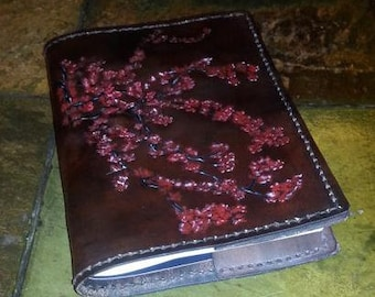 Leather Book Cover Cherry Blossoms Design, Gifts for Her, Gifts for Mother, Gifts for Wife, Book Cover, Leather Crafted Book Cover