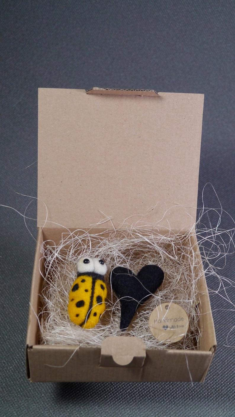 Yellow ladybug and black heart brooches wool felt soft eco boho hippie jewelry, handmade needle felted brooches
