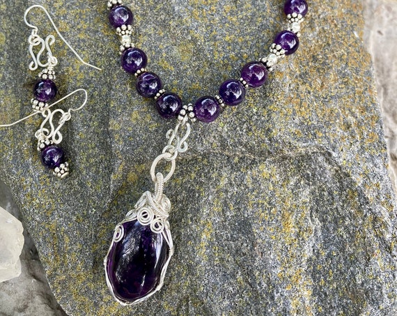 Wrapped Amethyst Necklace + Amethyst Hammered Circle Earring Set