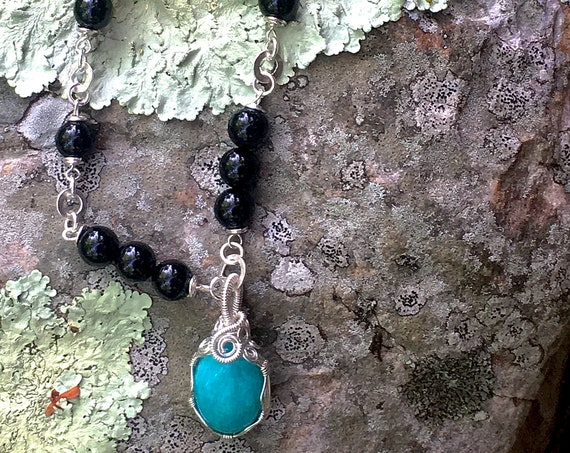 Wrapped Amazonite and Obsidian Premium Necklace + Obsidian Elegant Drop Earring Set