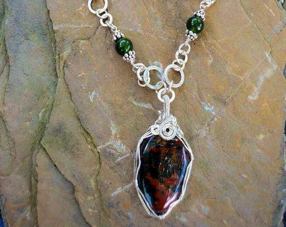 Wrapped Bloodstone and Green Quartz Necklace + Red Jasper Hammered Silver Circle Earring Set