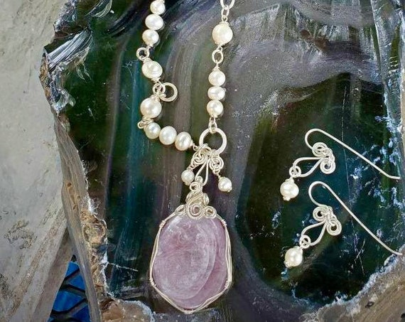 Wrapped Lepidolite and Pearl Necklace + Floral Drop Pearl Earring Set