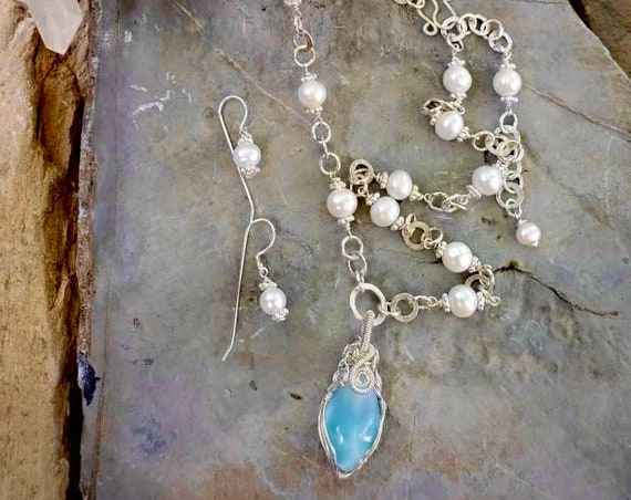 Wrapped Larimar and Pearl Premium Necklace + Pearl Hammered Silver Circle Earring Set
