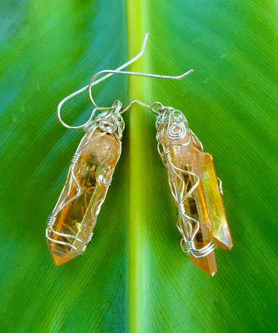 Wrapped Arkansas Sunshine Aura Crystal Earrings
