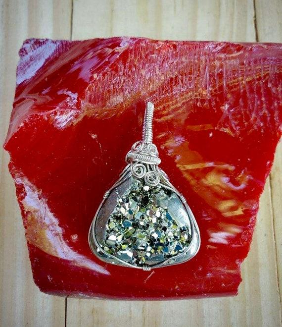 Wrapped Pyrite Pendant