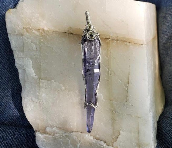 "Wrapped Arkansas Celestial Aura ""Lemurian"" Crystal Pendant"