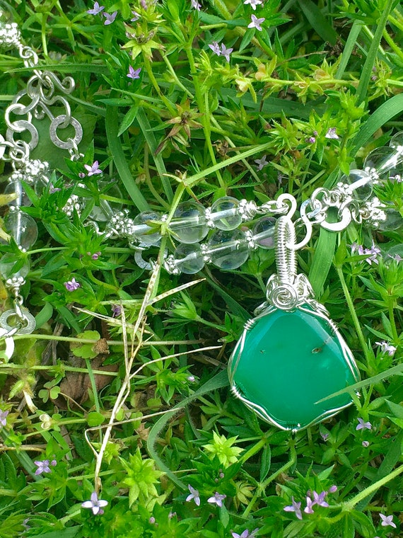 Wrapped Chrysoprase and Quartz Necklace + Quartz Hammered Silver Circle Earring Set