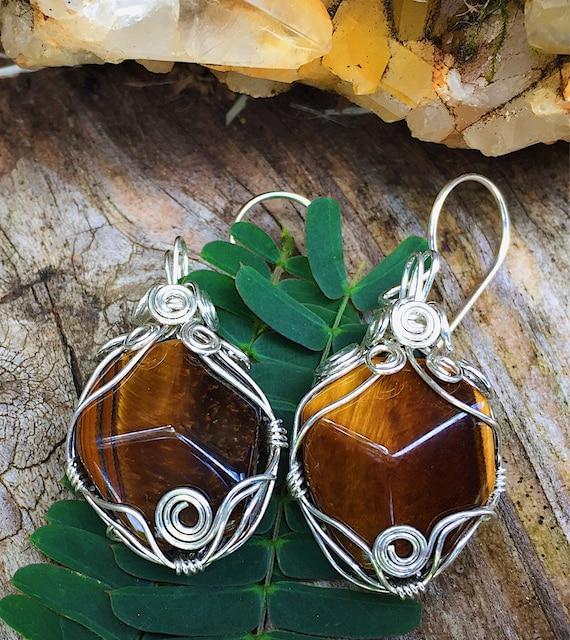 Wrapped Tiger Eye Earrings
