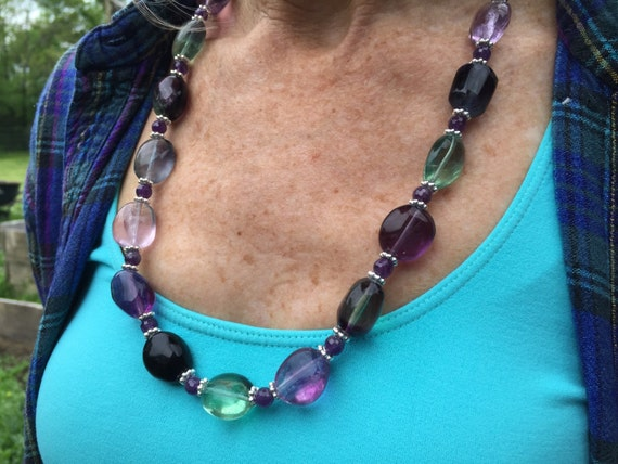 Rainbow Fluorite Necklace + Rainbow Fluorite Drop Earring Set