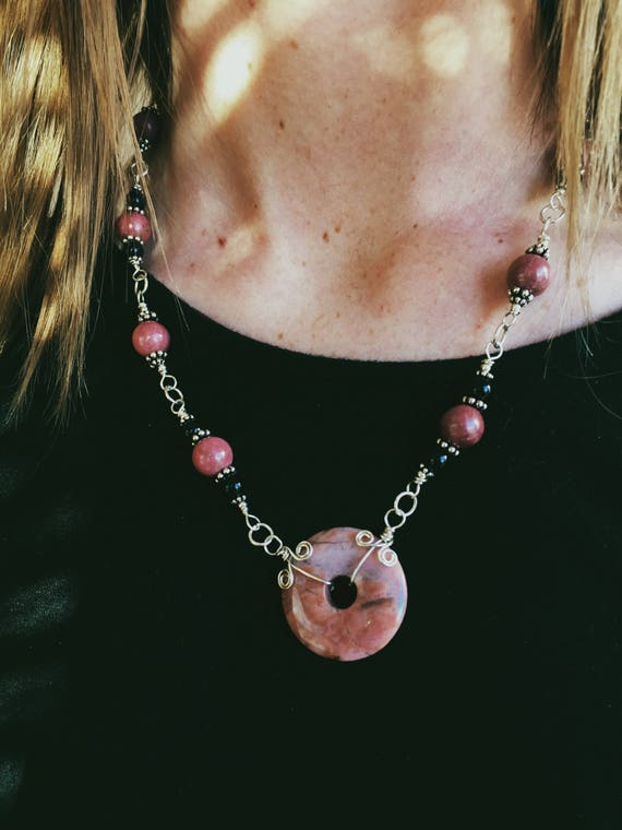 Wrapped Rhodonite + Obsidian Necklace