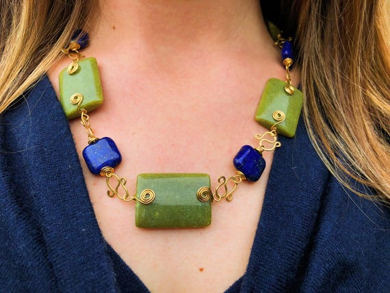 Wrapped Serpentine + Lapis Necklace