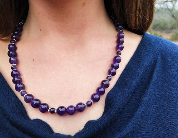 High Grade Amethyst Necklace + Hammered Silver Circle Amethyst Drop Earring Set
