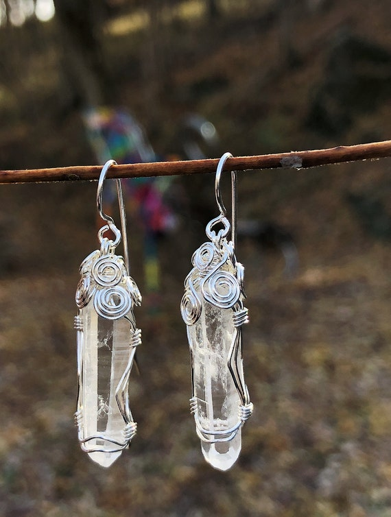 Wrapped Arkansas Clear Quartz Crystal Earrings 1""