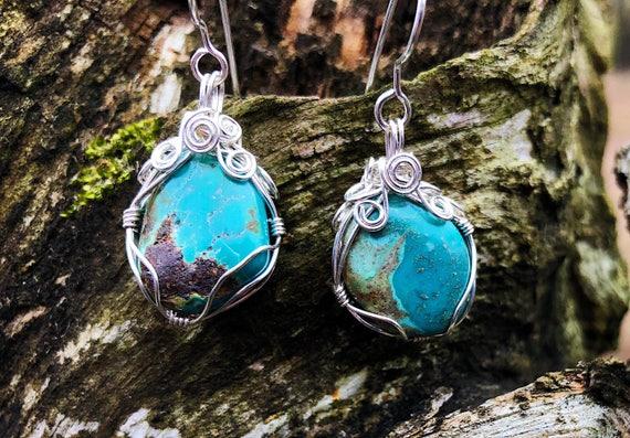 Wrapped Arizona Turquoise Earrings