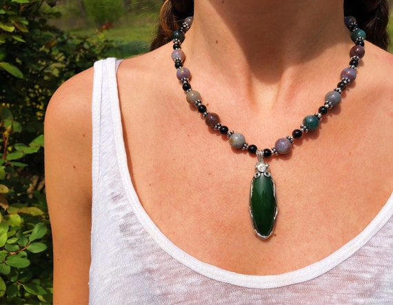 Wrapped Jade + Agate Necklace