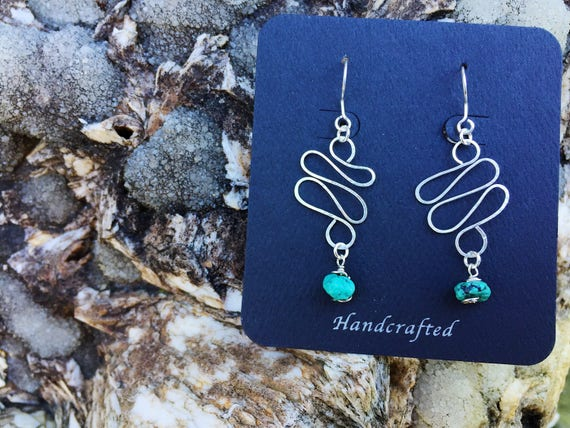 Mixed Gemstone Hammered Silver Flow Earrings