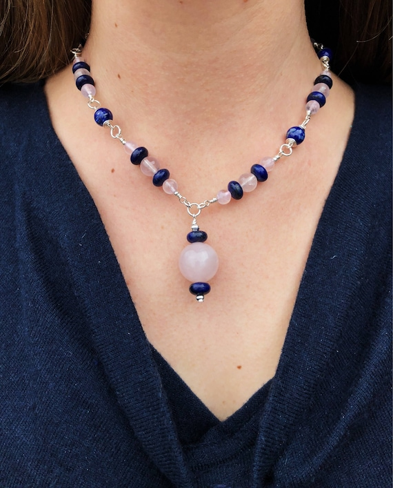 Wrapped Rose Quartz + Lapis Necklace + Hammered Silver Rose Quartz Earring Set