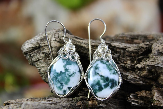 Wrapped Moss Agate Earrings